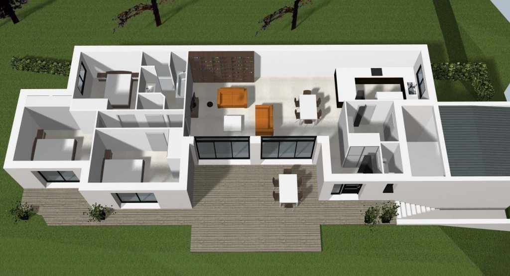 Plan d 39 une maison contemporaine rennes cocoon habitat for Site de construction de maison 3d