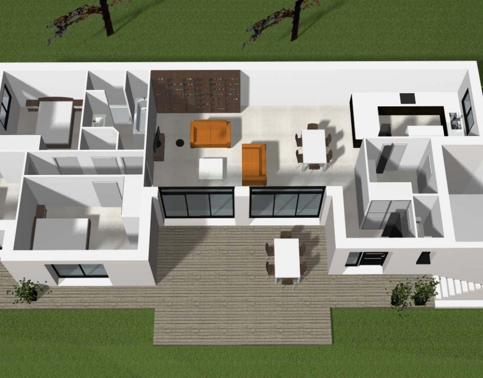 Plan maison contemporaine archives cocoon habitat for Villa contemporaine plan